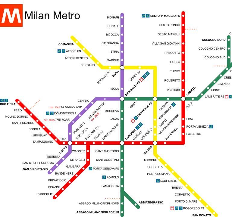 Carte Metro Milan | imvt